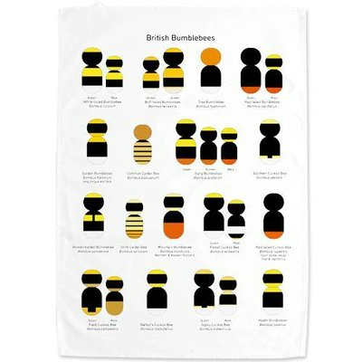 Bumblebee shapes tea towel
